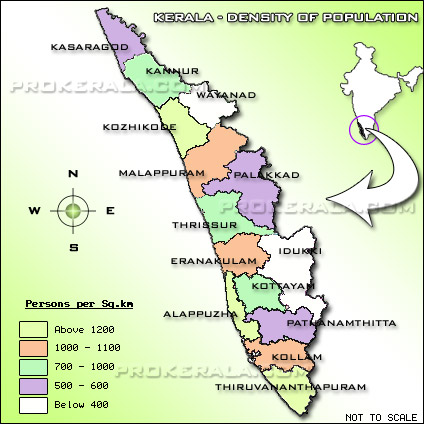 Kerala Population Density Map  Map showing the