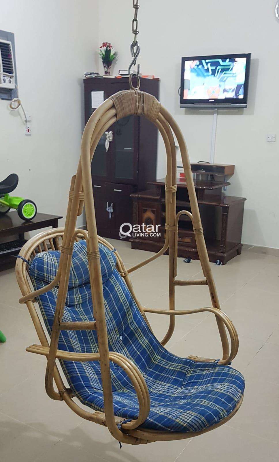 hanging chair qatar stakmore folding chairs fruitwood swing living title information ceiling in very