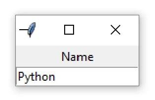 """Une fenêtre Tkinter contenant un widget Entry avec le texte """"Python"""""""