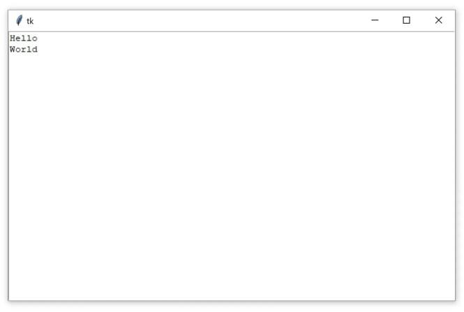 """Une fenêtre Tkinter contenant un widget Zone de texte avec le texte """"Hello World"""""""