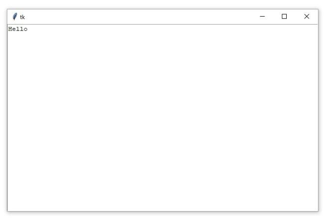 """Une fenêtre Tkinter contenant un widget Zone de texte avec le texte """"Bonjour"""""""