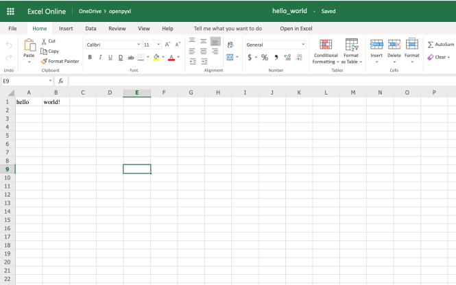 Une feuille de calcul Hello World simple