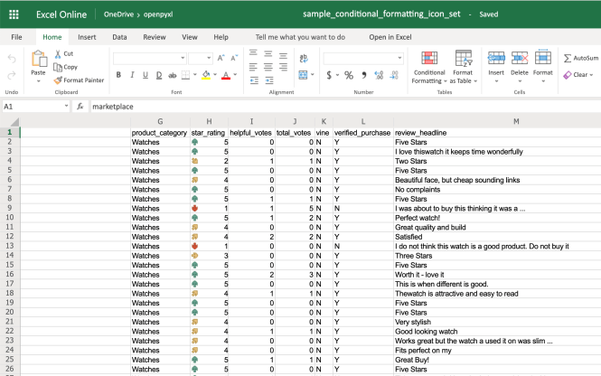 Example Spreadsheet With Icon Set Conditional Formatting