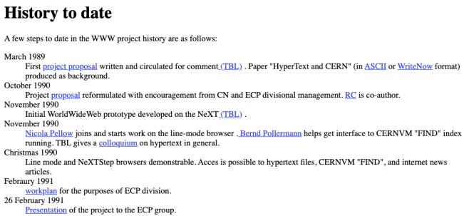Capture d'écran de l'une des premières pages Web statiques, affichant l'historique du projet tel qu'envisagé au CERN