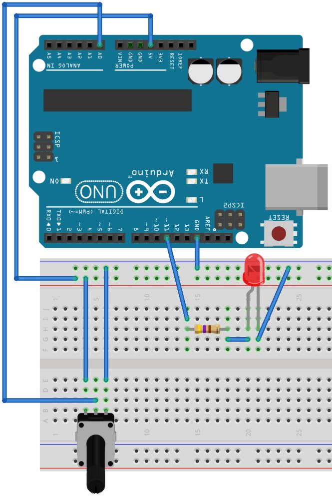 Circuit pour la sortie analogique sur la planche à pain