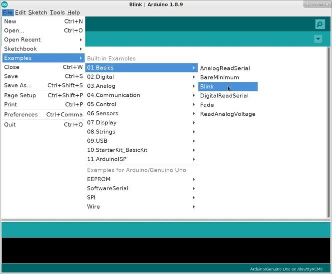 Exemple de clignotement sur Arduino IDE