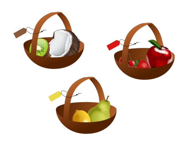 Fruits groupés par couleur