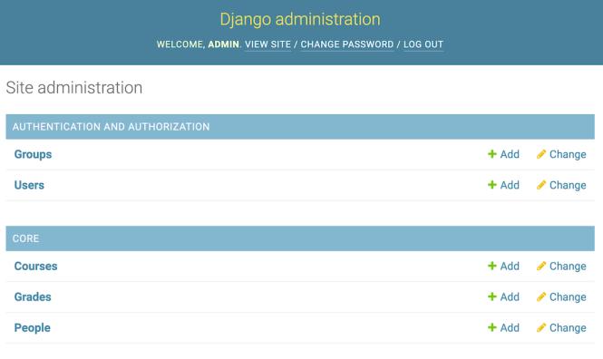 """Liste """"index des applications"""" de Django Admin"""