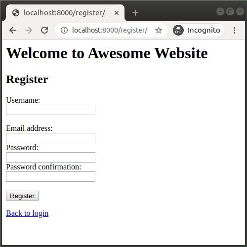 Formulaire d'inscription utilisateur