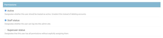 Écran Django Admin Edit User, section Permissions