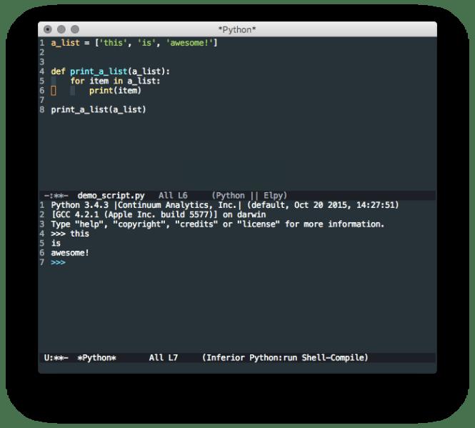 Emacs éditeur avec Elpy installé