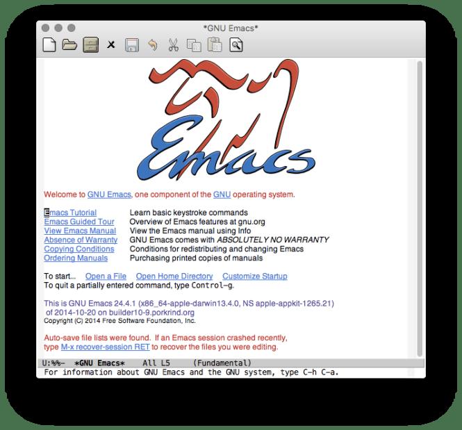 Emacs fraîchement lancé