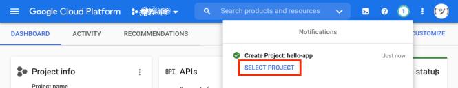 Capture d'écran montrant l'option de sélectionner un projet