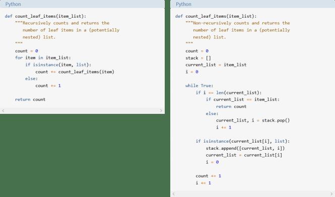 Comparaison d'algorithmes de parcours de liste non récursifs et récursifs