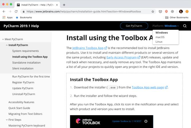 Liste des systèmes d'exploitation sur le site Web de JetBrains