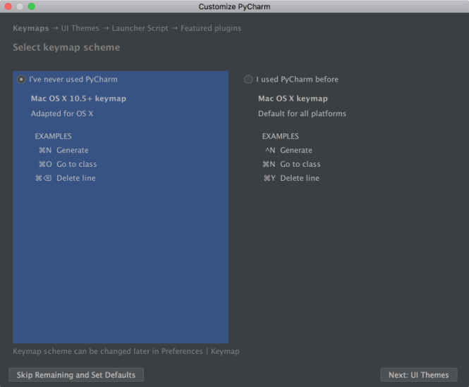PyCharm Keymap Scheme