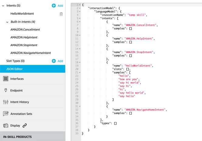 Alexa Developer Console JSON Editor