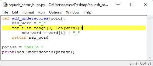 Point d'arrêt Python IDLE pt. 2