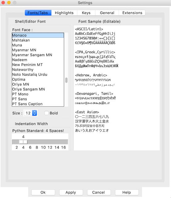 la fenêtre des paramètres de police du volet de personnalisation inactif
