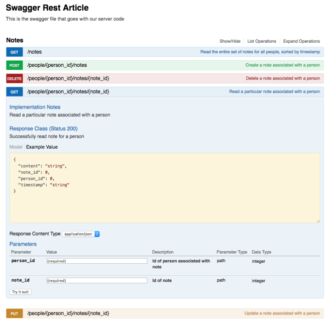 Swagger UI with notes part 3