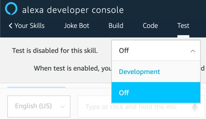 Section de test de la console développeur Alexa