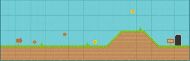 Conception de base pour le niveau un du jeu de plateforme d'arcade