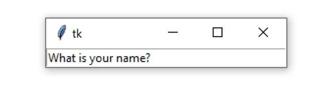 """Une fenêtre Tkinter contenant un widget d'entrée avec le texte """"Quel est votre nom?"""""""