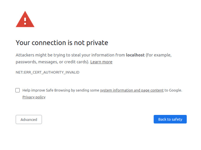 Chrome certificate warning