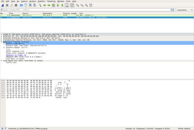 Wireshark avec réponse HTTP étendu