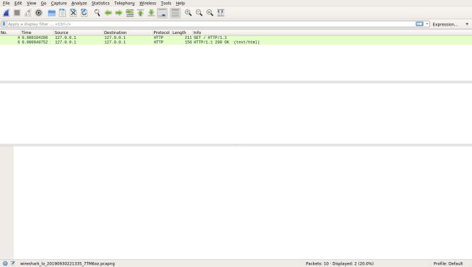 Wireshark avec requête HTTP et réponse capturée