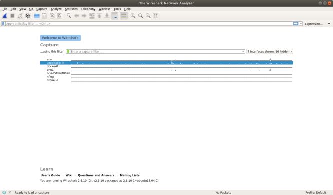 Wireshark avec Loopback sélectionné