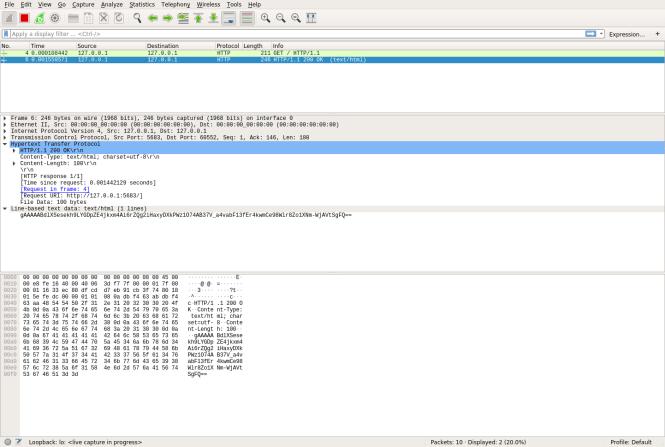 Vue de Wireshark de la réponse HTTP qui a été chiffrée à l'aide du chiffrement symétrique