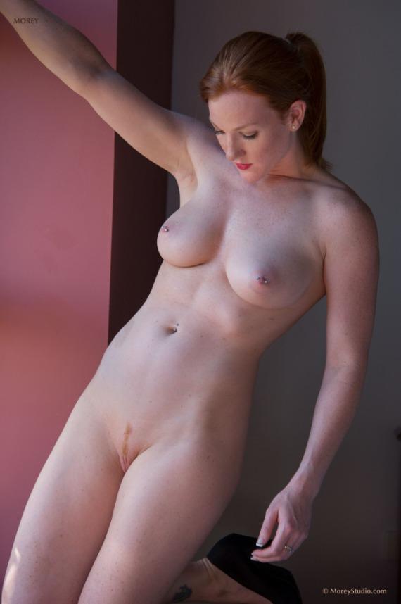 Amelia, lingerie, nude, trimmed, redhead, strip, piercing