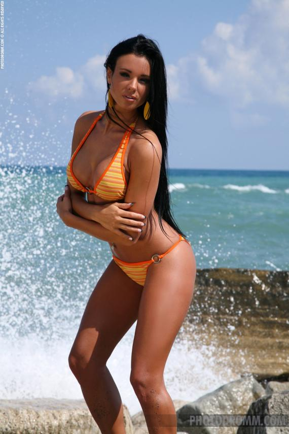Ashley Bulgari, brunette, strip, bikini, sea, rocks