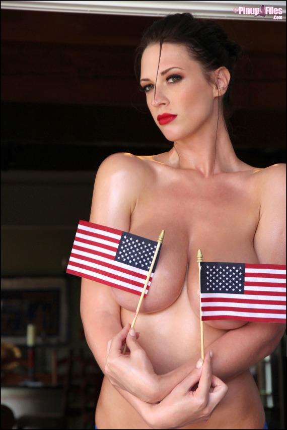 Lana Kendrick, brunette, strip, topless, busty, flag