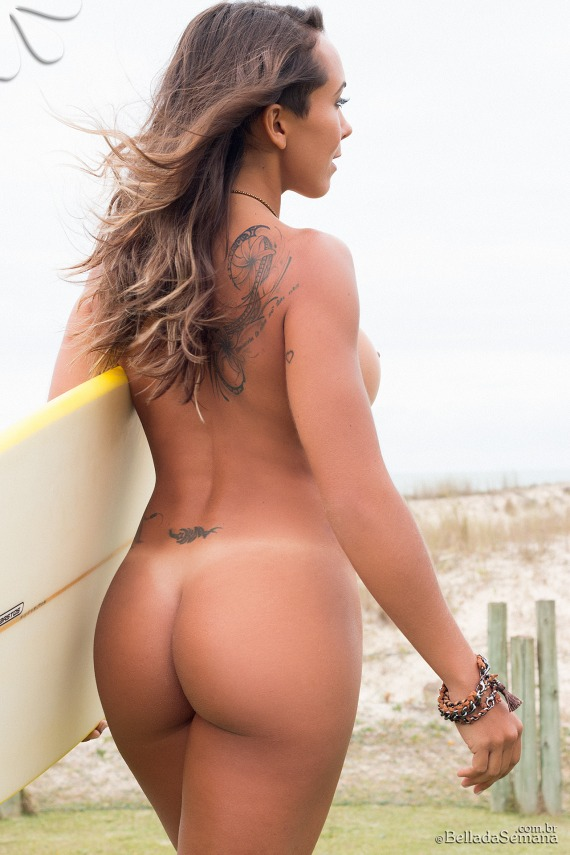 Juliana Freitas, brunette, strip, nude, busty, ass, surf