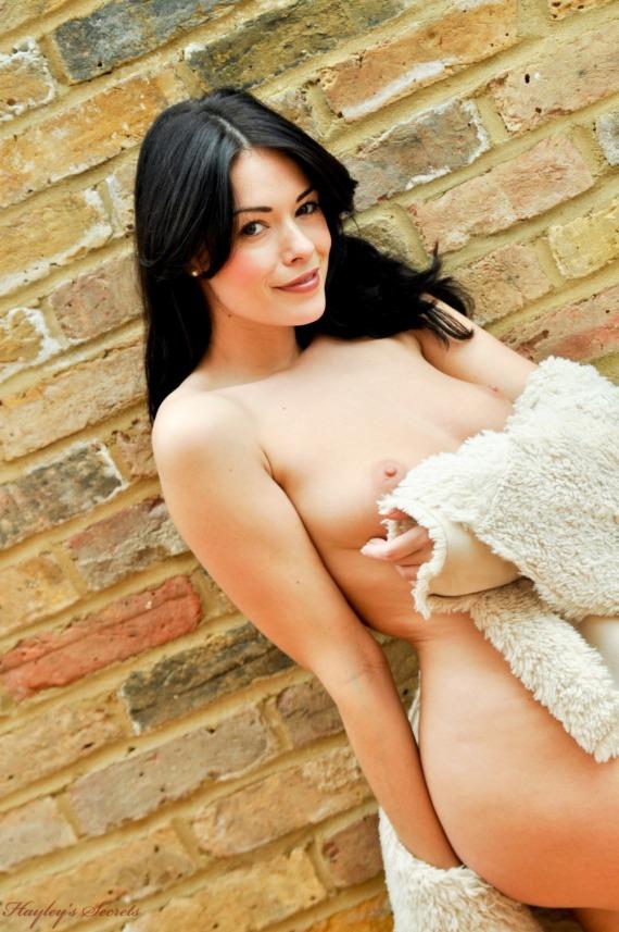 Ava Dalush, brunette, strip, nude, boobs, bush, coat