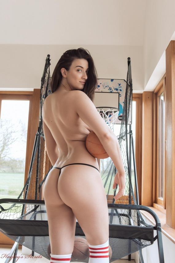 Joey Fisher, brunette, strip, nude, busty, basketball, sideboob