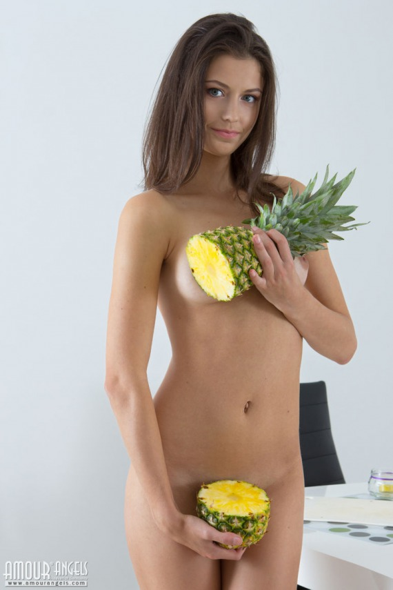 Barbie, brunette, strip, nude, perky, pose, pineapple