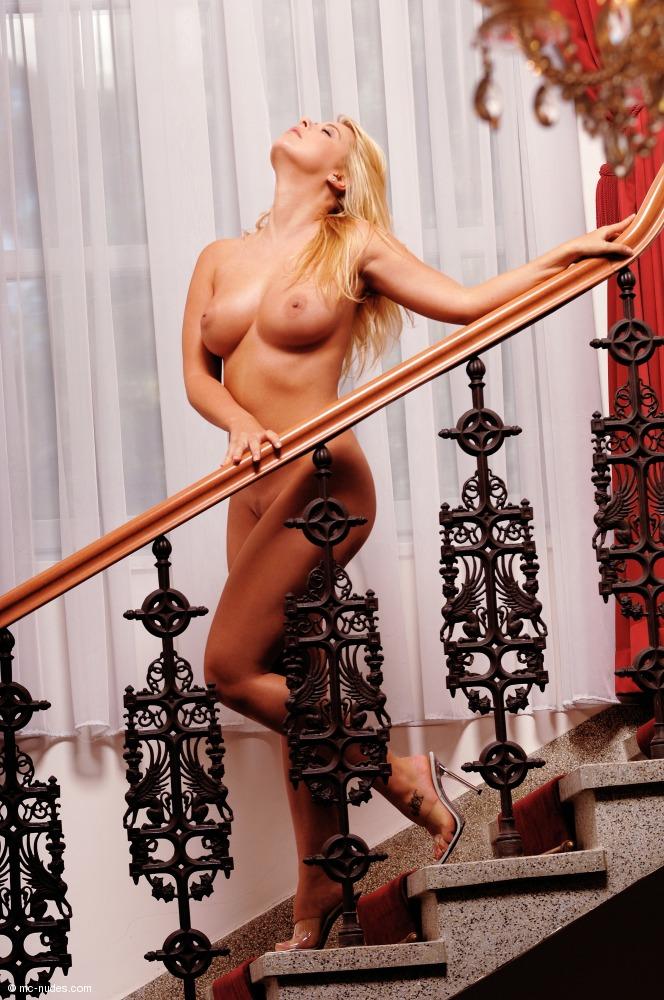 Kelly, blonde, nude, stairs, window