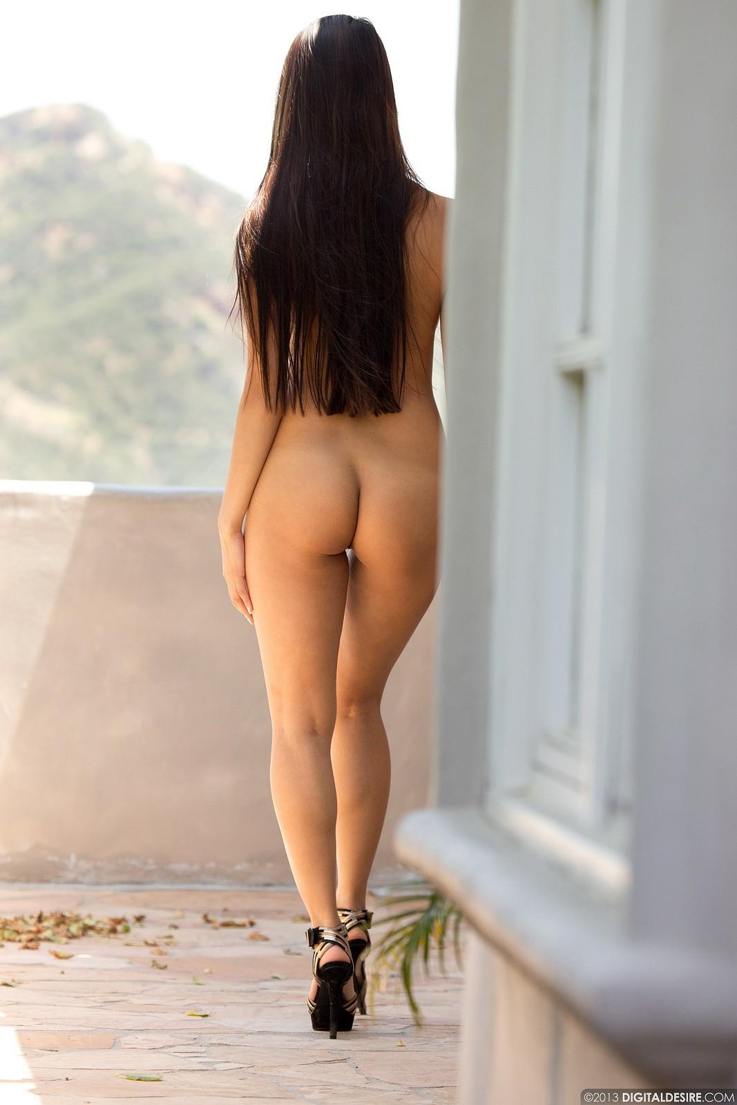 Sharon Lee, asian, nude, busty, ass, coffee, balcony