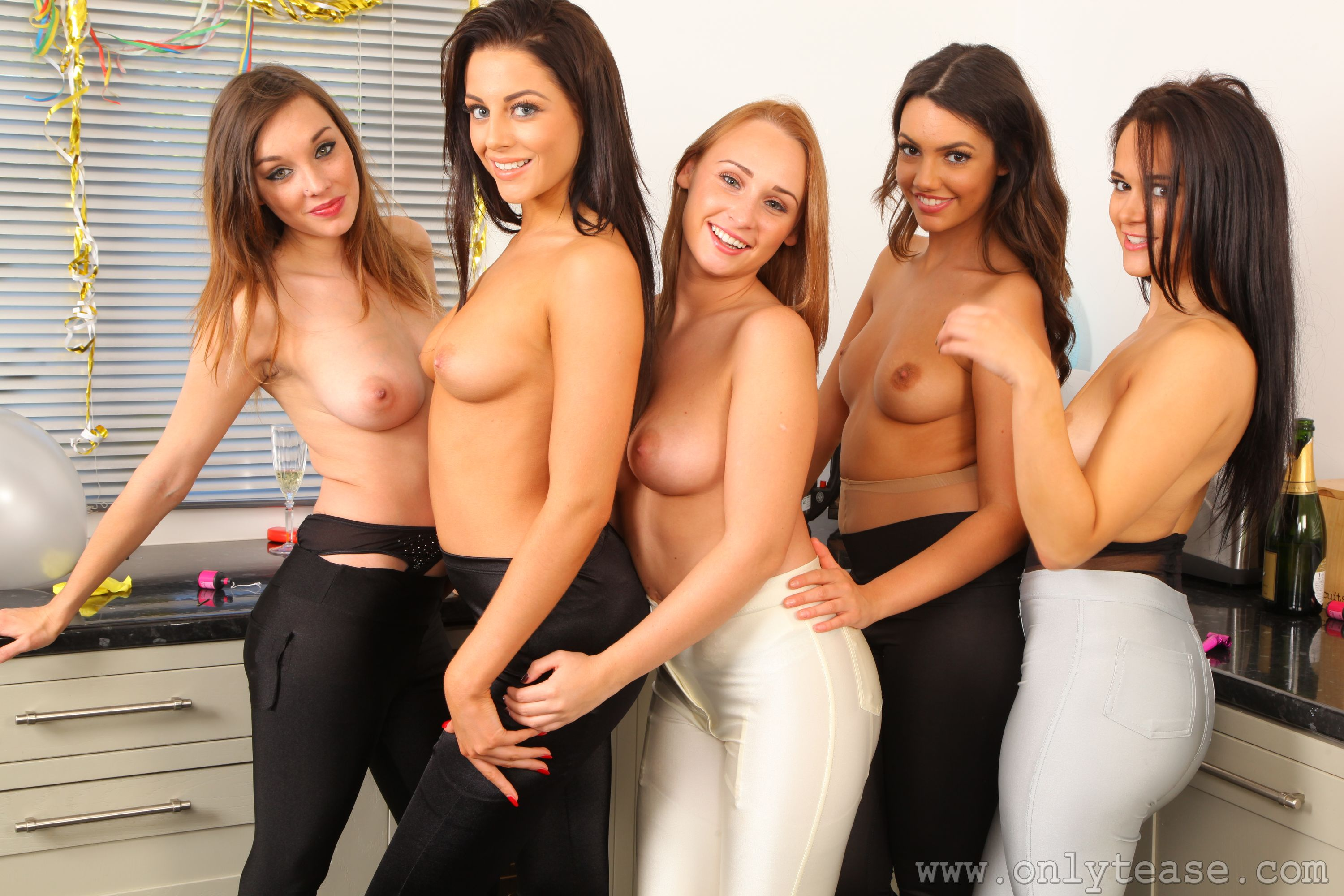 Abigail B, Felicity Hill, Rachel May, Jo E, strip, topless, party