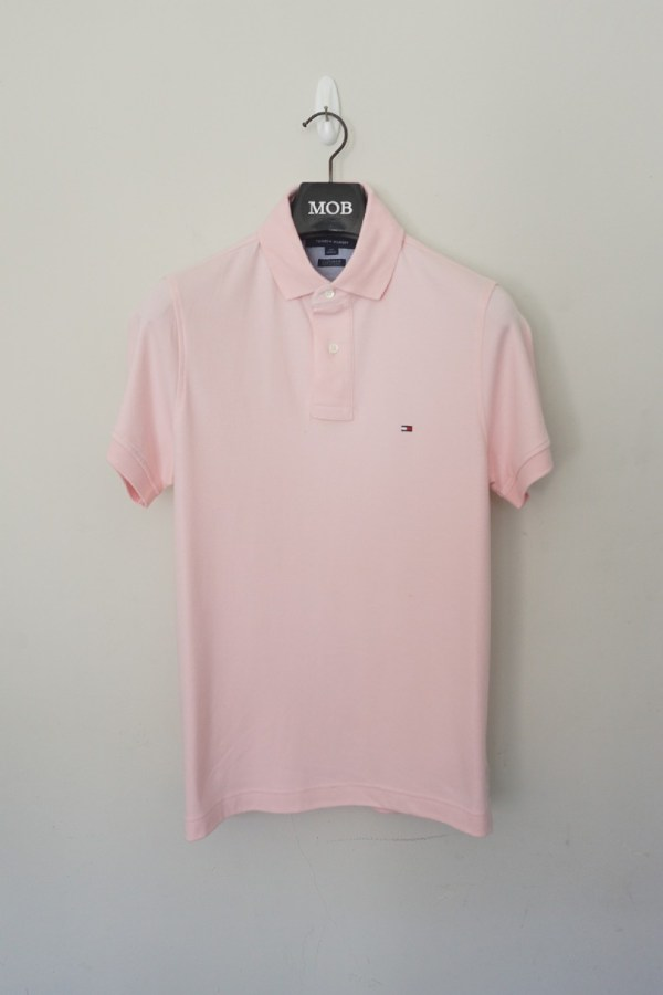 022db6416 Thcs01008 Polo Shirt Basic Small Logo Custom Fit Light Pink