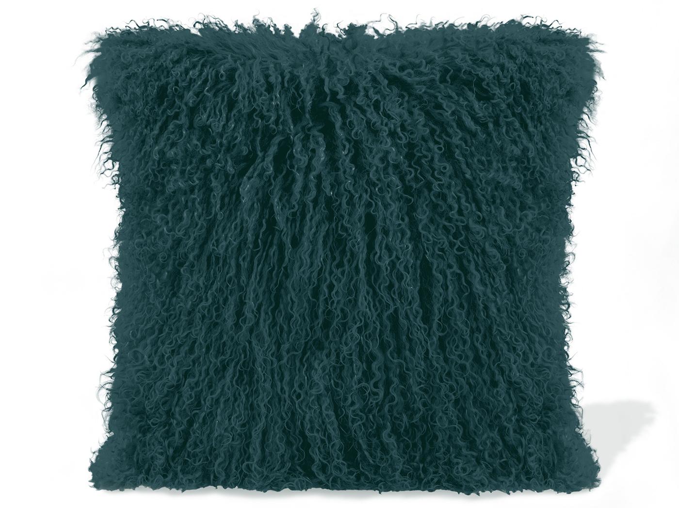 teal lamb fur pillow 15 75