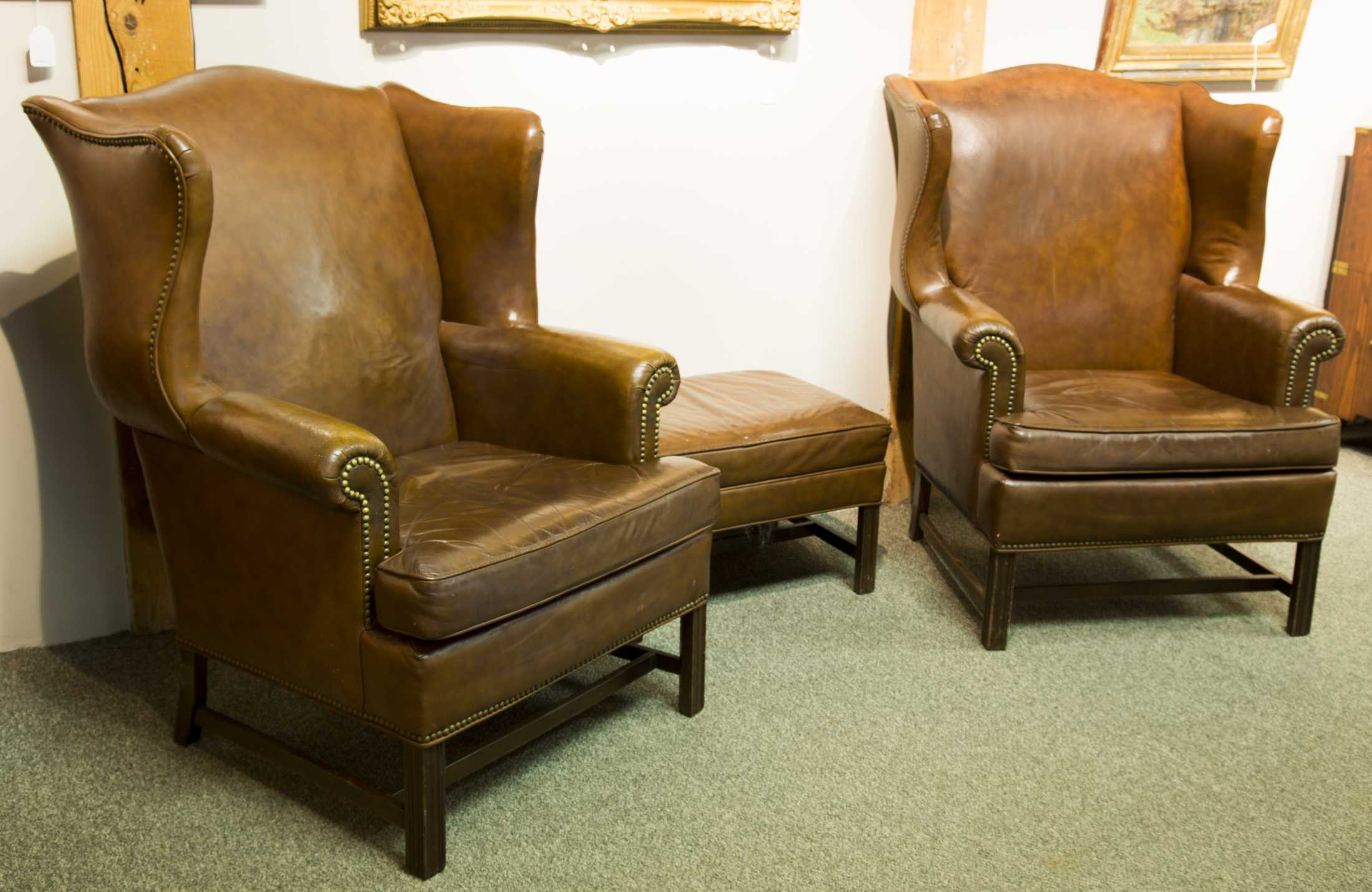 Pair of Ethan Allen Leather Wing Chairs with Ottoman