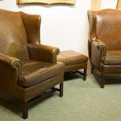 Ethan Allen Leather Chair Fishing Bed Dimensions Pair Of Wing Chairs With Ottoman