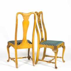 Queen Anne Style Chairs Turkey Lounger Folding Hunting Chair Pair Of Paint Decorated