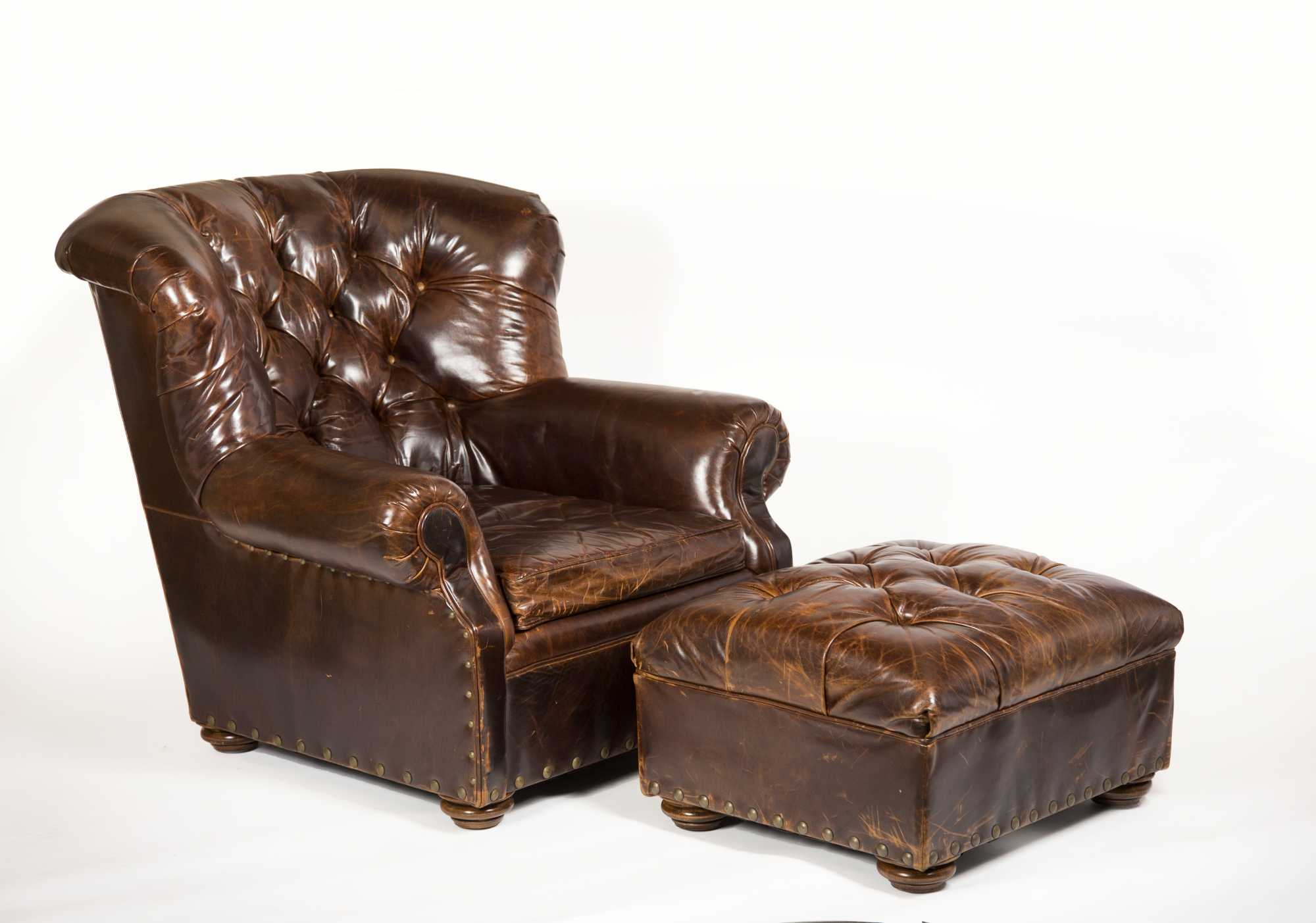 Restoration Hardware Leather Chairs Leather Lounge Chair And Ottoman Made By