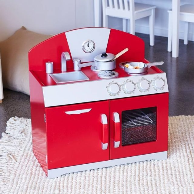 retro kids kitchen cabinet latches our top eight good looking children s play kitchens the interiors hip toy perhaps it red but i can see this in a little boy room 199 95