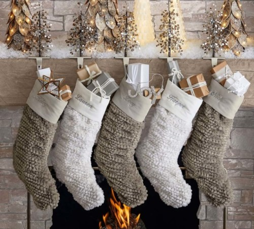 pottery barn 2faceted glass mirror tree stocking holder 202038 0133 honeycomb faux fur personalized stockings 1 z